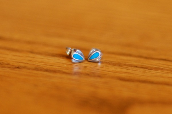 blue and silver post earrings