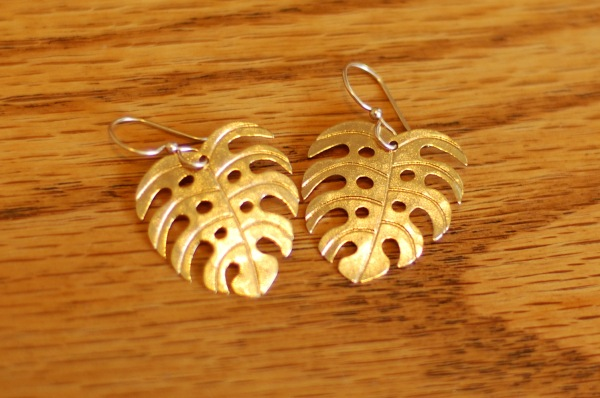 gold leaf earrings with holes