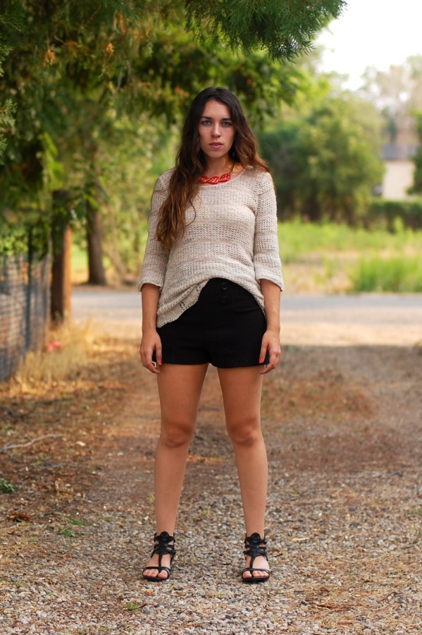 Nude Knit Sweater August Wrinkle High Waisted Shorts