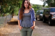 Blue Ross Peplum tank, blue plaid button up, green skinny jeans