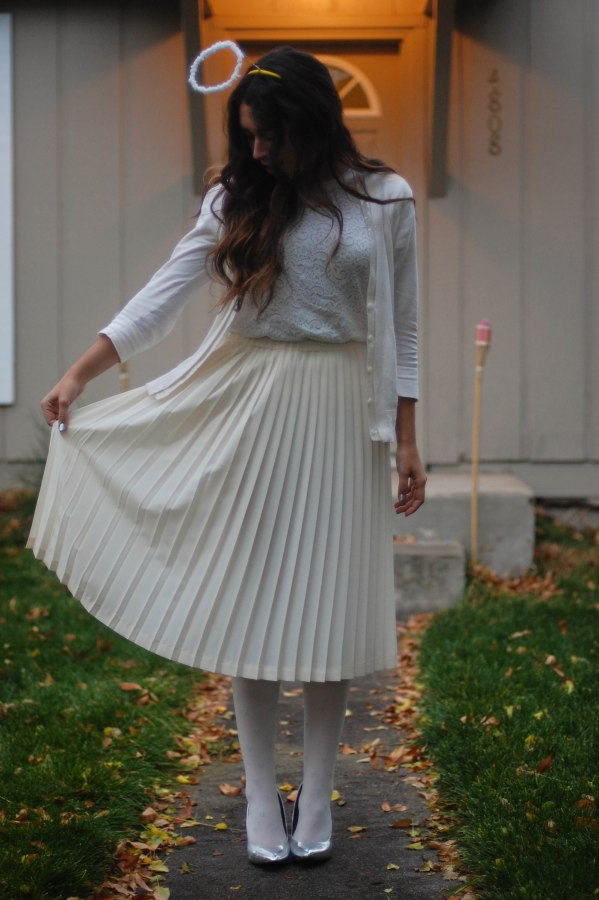 Angel in a midi skirt