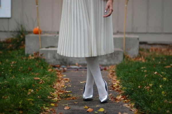 Silver Pumps and Midi Skirt